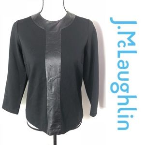 J. McLaughlin Black Leather Front Stretch Top S